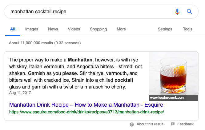 Example of a rich snippet for a cocktail recipe