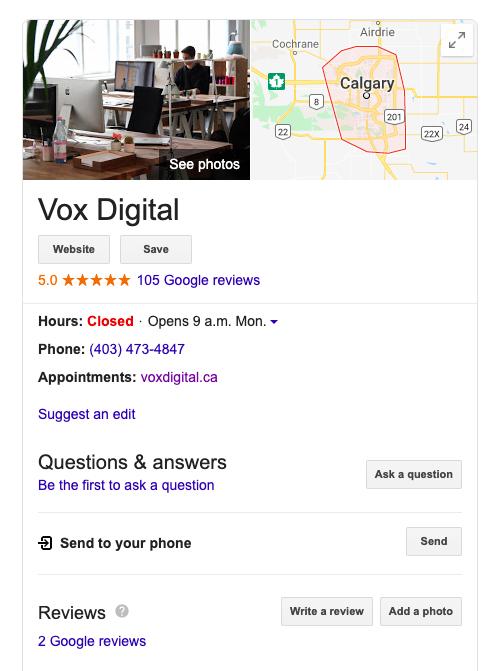 Local SEO Vox Digital SERP Results